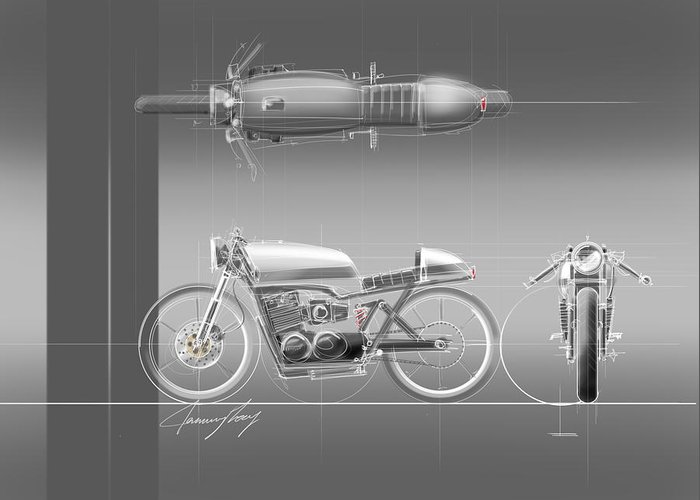 Hot Rod Greeting Card featuring the drawing Cafe Racer by Jeremy Lacy