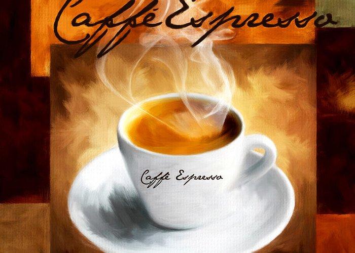 Coffee Greeting Card featuring the digital art Caffe Espresso by Lourry Legarde