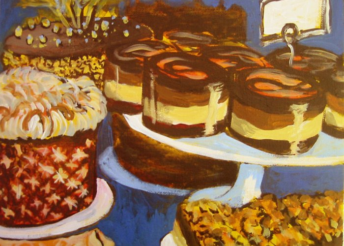 Cake Greeting Card featuring the painting Cake Case by Tilly Strauss