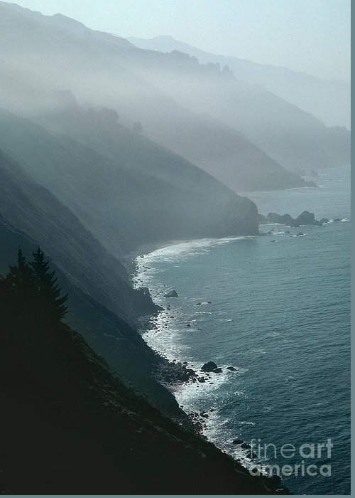 California Coastline (photo) Coast; Californian; Rocks; Rocky; Cliffs; Breakers; Surf; Sea; Bird's Eye View; Fog; Mist; Misty; Inlets; Landscape; Coastal; Pacific; Ocean; Atmospheric; Spiritual; Ca Greeting Card featuring the photograph California Coastline by Unknown