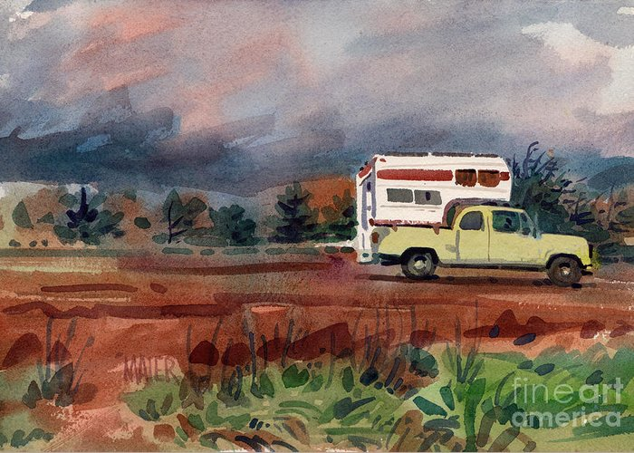 Camper Greeting Card featuring the painting Camper On Pacific Coast Highway by Donald Maier