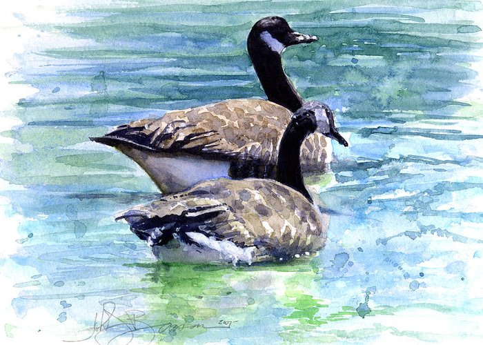 Canada Greeting Card featuring the painting Canada Geese by John D Benson