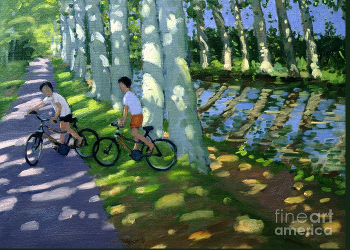 Boy Greeting Card featuring the painting Canal Du Midi France by Andrew Macara