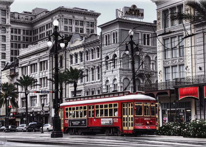 Nola Greeting Card featuring the photograph Canal Street Trolley by Tammy Wetzel