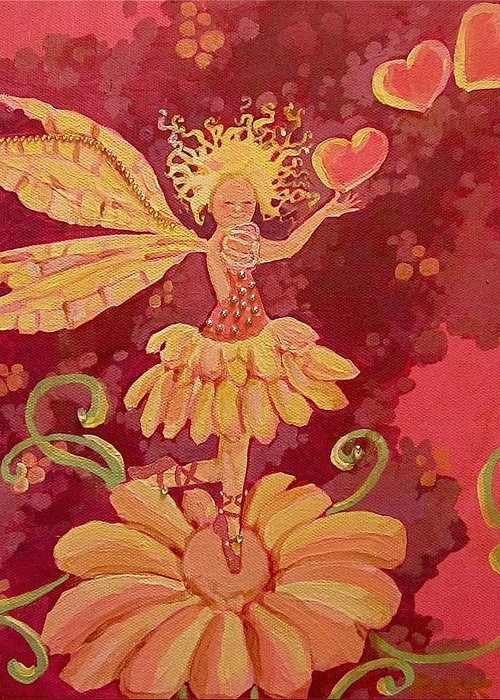 Fairy Hearts Pink Flower Greeting Card featuring the painting Candy 1 by Jackie Rock