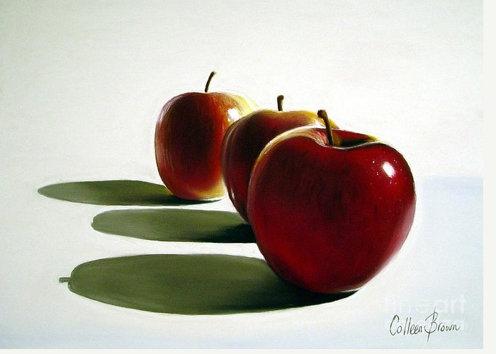 Still Life Greeting Card featuring the painting Candy Apple Red by Colleen Brown
