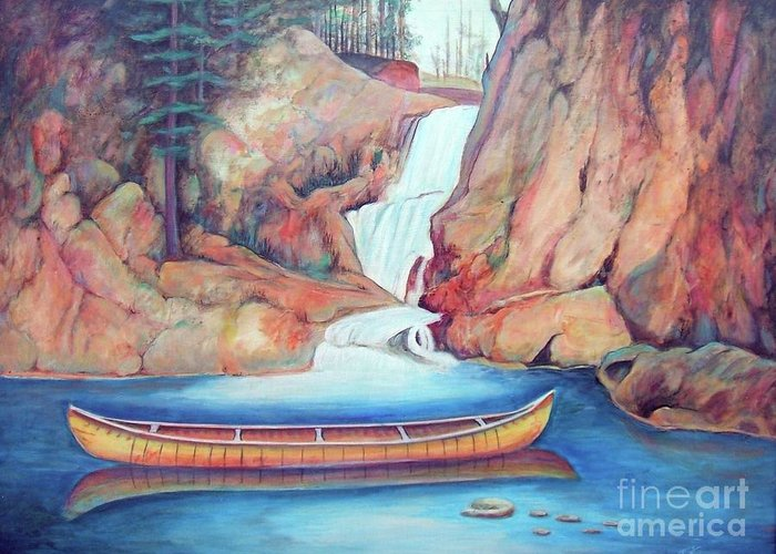Canoe Greeting Card featuring the painting Canoe And Waterfall by Pete TSouvas
