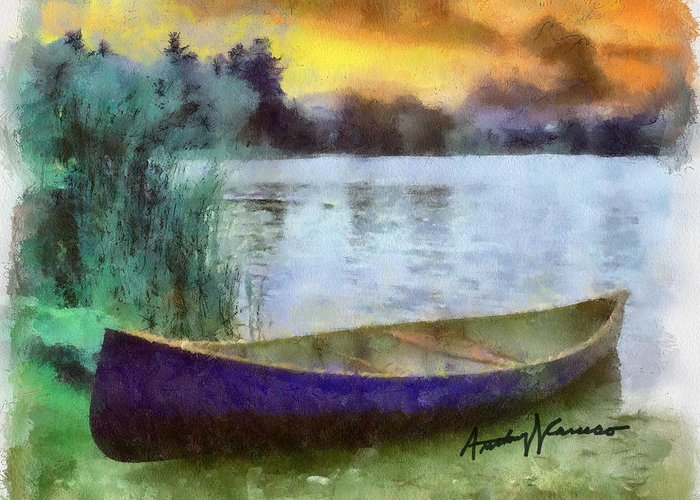 Canoe Greeting Card featuring the painting Canoe by Anthony Caruso