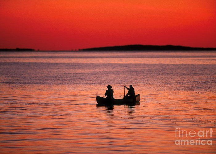Canoe Greeting Card featuring the photograph Canoe Fishing by John Greim