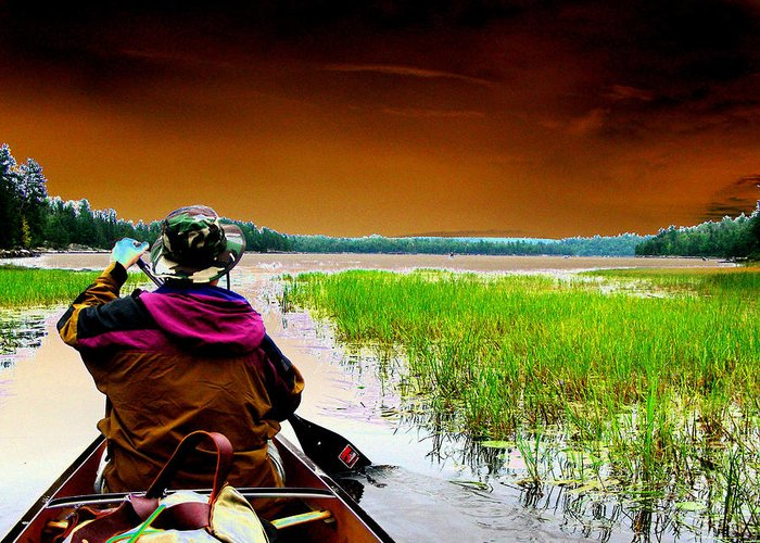 Canoe Greeting Card featuring the digital art Canoe Trip by Peter McIntosh
