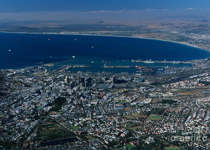 Capetown Greeting Card featuring the photograph Capetown South Africa Aerial by Sandra Bronstein