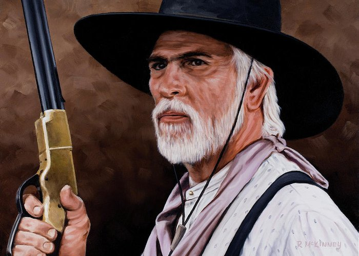 Lonesome Dove Greeting Card featuring the painting Captain Woodrow F Call by Rick McKinney