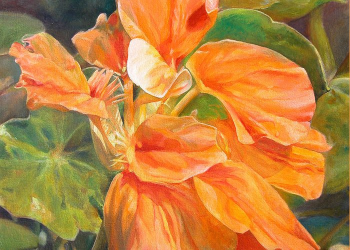 Floral Painting Greeting Card featuring the painting Capucine by Muriel Dolemieux