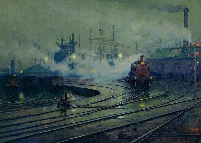 Cardiff Greeting Card featuring the painting Cardiff Docks by Lionel Walden