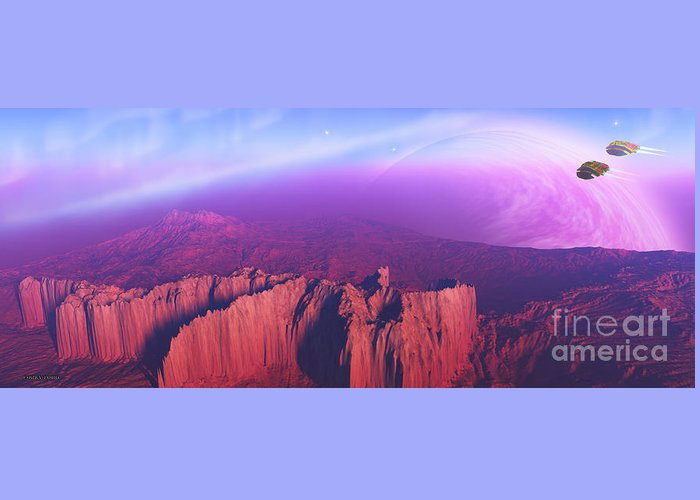 Spaceship Greeting Card featuring the painting Cardinal Pointe by Corey Ford