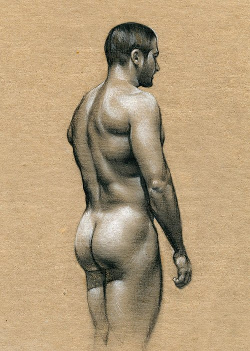 Male Greeting Card featuring the drawing Carlos by Chris Lopez