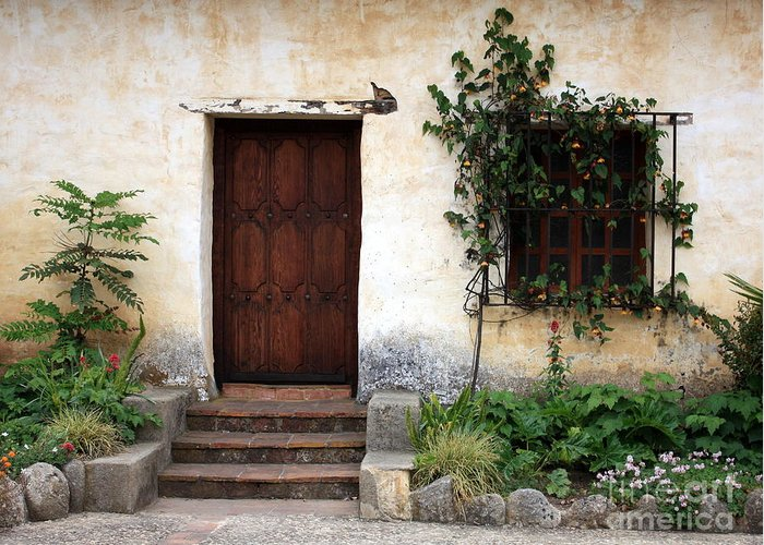 Carmel Mission Greeting Card featuring the photograph Carmel Mission Door by Carol Groenen