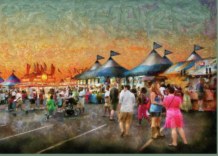 Suburbanscenes Greeting Card featuring the photograph Carnival - Who Wants Gyros by Mike Savad