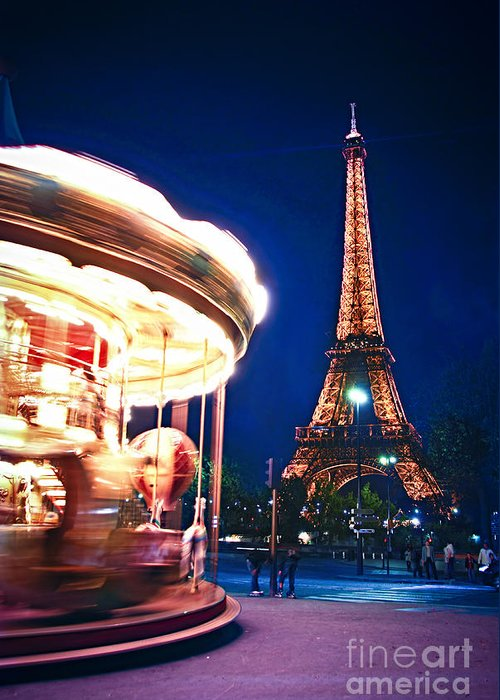 Carousel Greeting Card featuring the photograph Carousel And Eiffel Tower by Elena Elisseeva