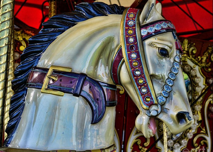 Carousel Greeting Card featuring the photograph Carousel Horse - 7 by Paul Ward