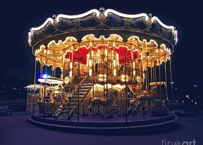 Carousel Greeting Card featuring the photograph Carousel In Paris by Elena Elisseeva