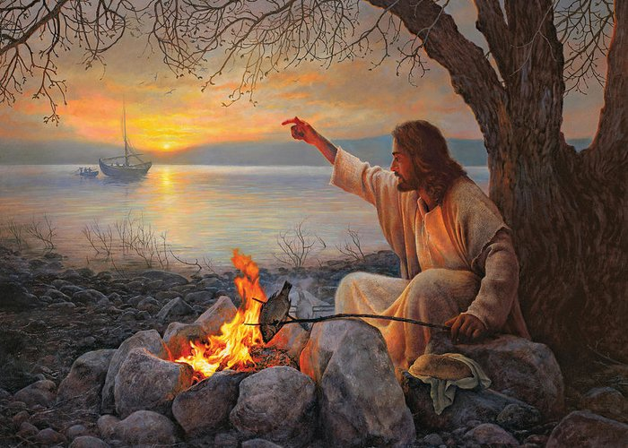 Jesus Greeting Card featuring the painting Cast Your Nets On The Right Side by Greg Olsen