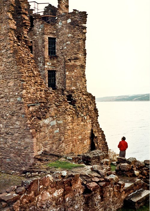 Castle Greeting Card featuring the photograph Castle Ruins On The Seashore In Ireland by Douglas Barnett