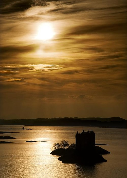 Beauty In Nature Greeting Card featuring the photograph Castle Stalker At Sunset, Loch Laich by John Short