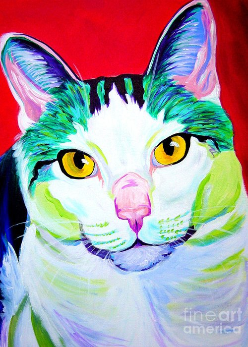 Cat Greeting Card featuring the painting Cat - Zooey by Alicia VanNoy Call