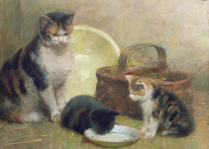 Cat And Kittens Greeting Card featuring the painting Cat And Kittens by Walter Frederick Osborne