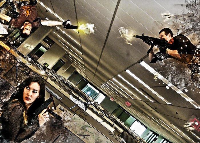 Inception Zero Gravity Cataclysm Explosion Guns Gun Women Man Men Woman Spys Spy Office Building Cubicle Rubble Debris Hang Stunt Position Hdr Tone Greeting Card featuring the digital art Cataclysm by Matthew Lawson