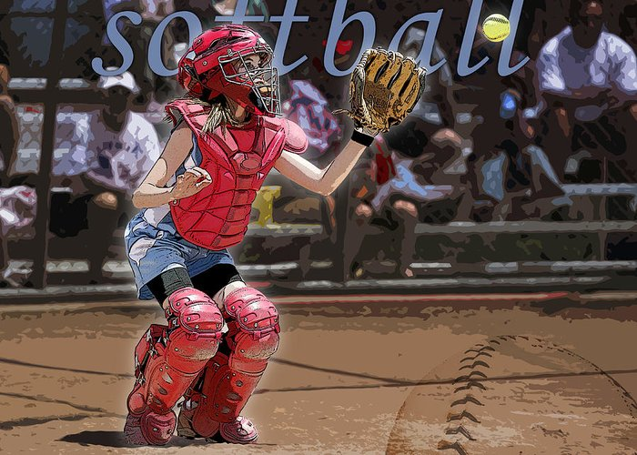 Softball Greeting Card featuring the photograph Catch It by Kelley King