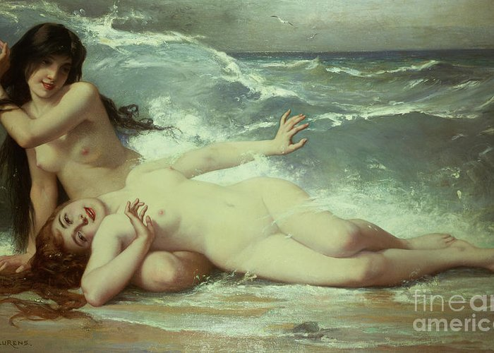 Nude Greeting Card featuring the painting Catching Waves by Paul Albert Laurens
