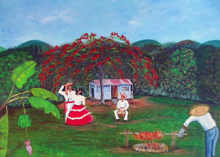 Puerto Rico Fiesta Greeting Card featuring the painting Celebration by Gloria E Barreto-Rodriguez