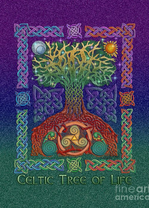 Artoffoxvox Greeting Card featuring the mixed media Celtic Tree Of Life by Kristen Fox