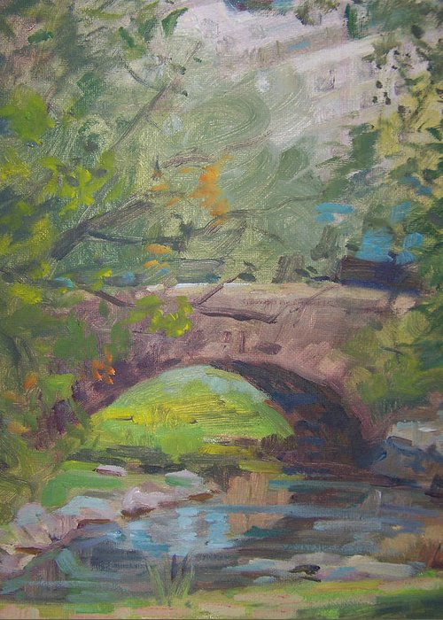 Small Bridge And Pond In Central Park Ny Greeting Card featuring the painting Central Park Bridge by Bart DeCeglie