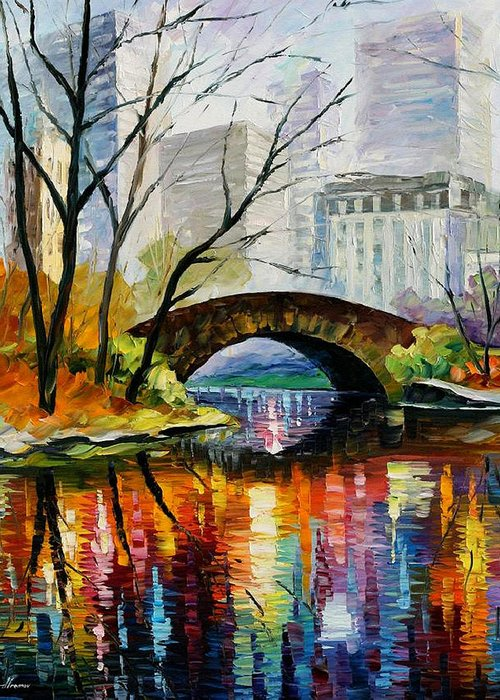Landscape Greeting Card featuring the painting Central Park by Leonid Afremov