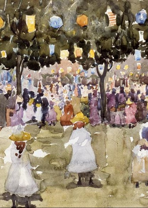 Central Park; Park; New York; Manhattan; Outdoors; Celebration; Summer; Summertime; Seasons; Independence Day; 4th July; Children; Lanterns; Decorations; Festive; Crowd; Crowds; Sketch; Atmospheric Greeting Card featuring the painting Central Park New York City July Fourth by Maurice Prendergast