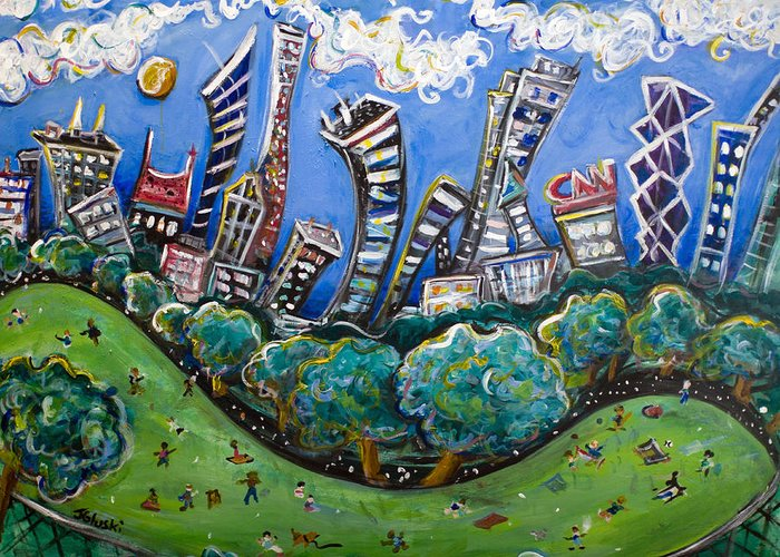 New York City Greeting Card featuring the painting Central Park South by Jason Gluskin