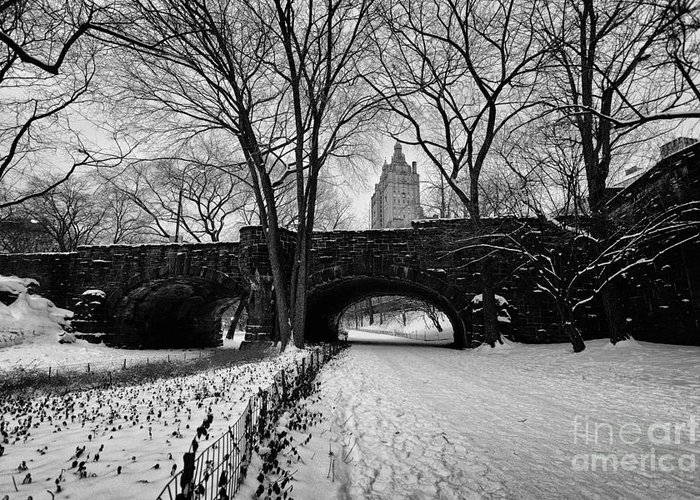 Cold Greeting Card featuring the photograph Central Park West And The San Remo Building by John Farnan
