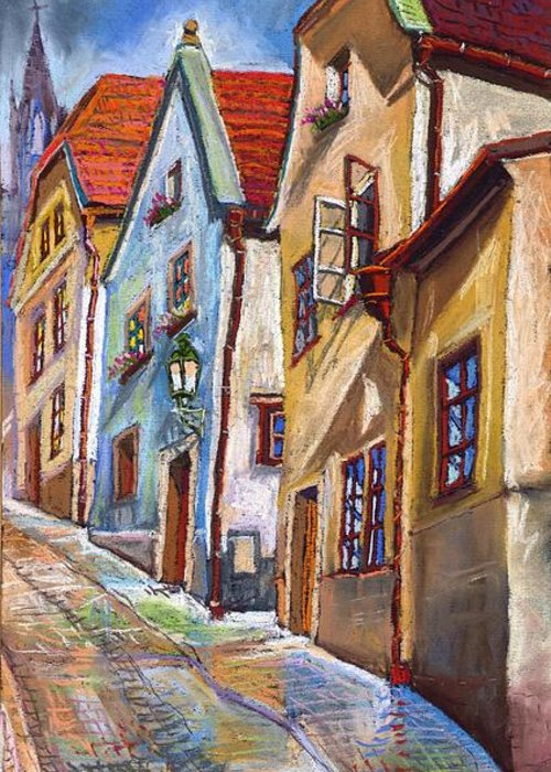 Pastel Chesky Krumlov Old Street Architectur Greeting Card featuring the painting Cesky Krumlov Old Street 2 by Yuriy Shevchuk