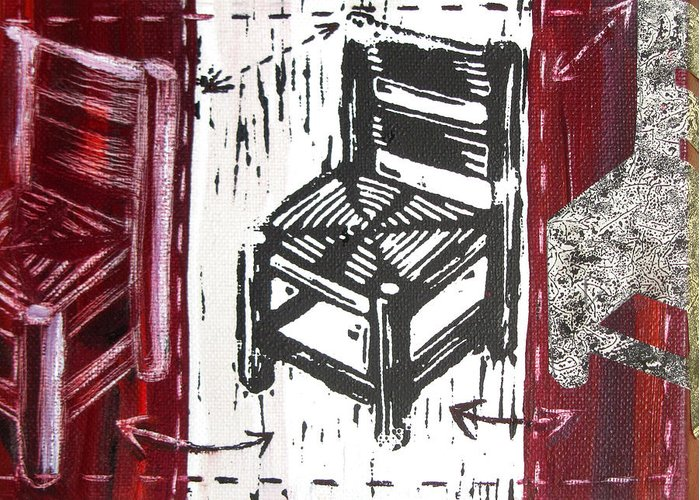 Chair Greeting Card featuring the mixed media Chair V by Peter Allan