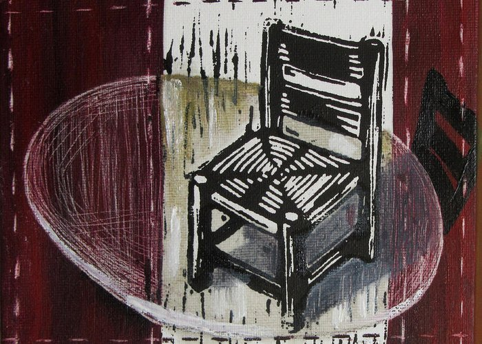 Chair Greeting Card featuring the mixed media Chair Vi by Peter Allan
