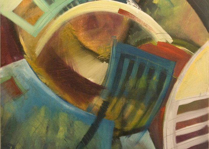 Chairs Greeting Card featuring the painting Chairs Around The Table by Tim Nyberg