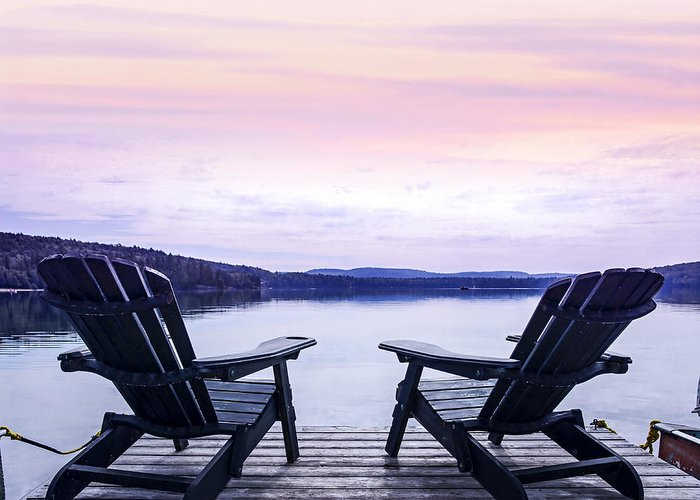 Chairs Greeting Card featuring the photograph Chairs On Lake Dock by Elena Elisseeva