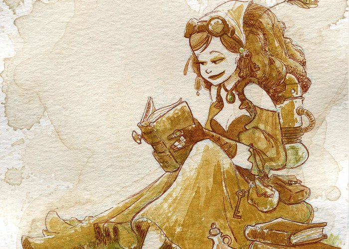 Steampunk Greeting Card featuring the painting Chamomile 2 by Brian Kesinger
