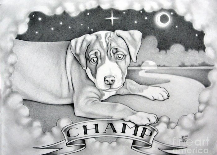 Champ Greeting Card featuring the painting Champ by Robert Ball