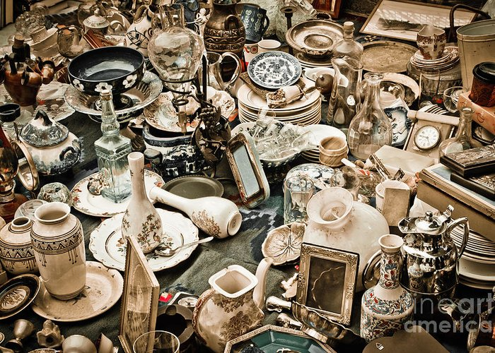 Old; Antique; Vintage; Retro; Background; Style; Art; Decor; Decorating; Decoration; Grunge; Antiquities; Object; Old-fashioned; Classic; Collection; Valuable; Junk; Together; Gathered; Greeting Card featuring the photograph Chaos by Gabriela Insuratelu