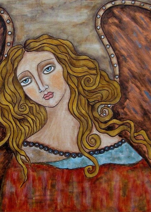 Folk Art Paintings Paintings Greeting Card featuring the painting Chaourum by Rain Ririn