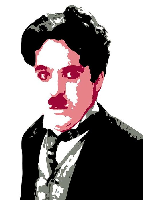 Charlie Chaplin Greeting Card featuring the digital art Charlie Chaplin by DB Artist